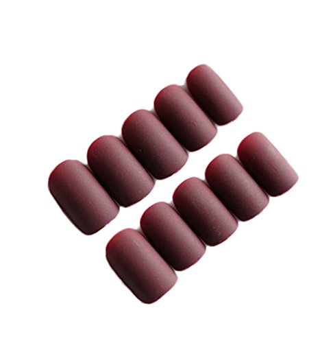 JINDIN 24 Sheet French Matte Fake Nails for Women Acrylic Nail Tips Full Cover False Nails Kit Artificial Press On Art Nails Wine Red