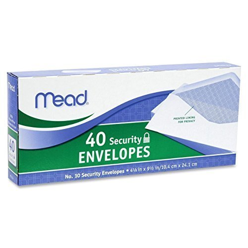 Mead #10 Security Envelopes, 40 Count (75214), Pack of 2 = 80 Envelopes
