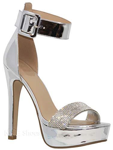 - MVE Shoes Women's Open Toe Buckle Ankle Strap Platform High Heel Sandal, Silver Size 10