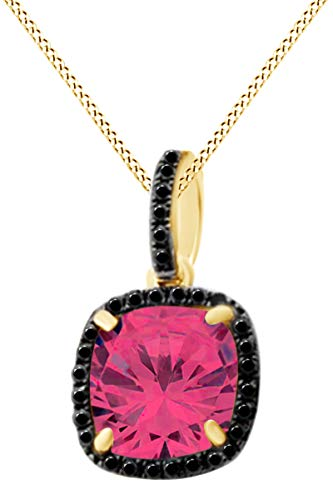 Ruby 14k Yg Clasp - Cushion Cut Simulated Ruby Solitaire Pendant Necklace in 14K Solid Yellow Gold (2.22 cttw)