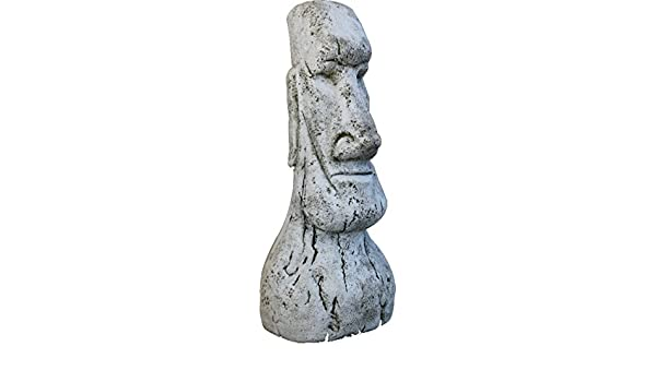 DEGARDEN AnaParra Figura Decorativa Cabeza de Pascua Moai de hormigón-Piedra para jardín o Exterior 120cm.: Amazon.es: Jardín