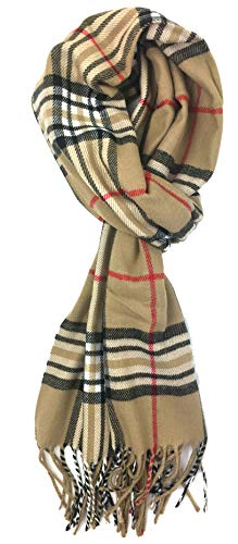 (Plum Feathers Super Soft Luxurious Cashmere Feel Winter Scarf (Classic Camel Plaid))