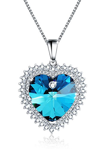 M-Tree Womens Heart Pendant Necklace - Beautiful Cute Love Necklaces With Nice Crystal Color - Store In Tiffany Engraving