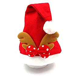 Beyougo Adult and Child Santa Christmas Hat with Plush Trim (One Size, Antler)