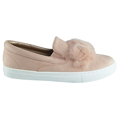 New Womens Ladies Trainers Faux Suede Slip On Flat Fur Sneakers Pumps Shoes Size 3-8 Pink 52Dc26Zm