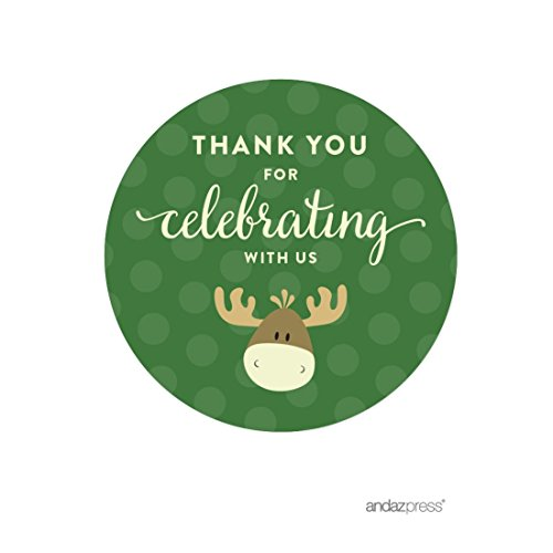 Andaz Press Birthday Round Circle Labels Stickers, Thank You for Celebrating With Us, Rustic Woodland Forest Moose, 40-Pack, For Gifts and Party (Woodland Moose)