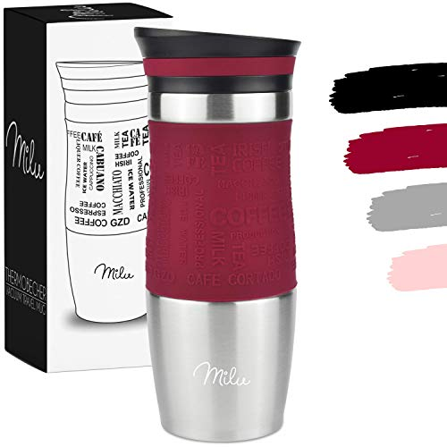 Milu Termo Taza 370ml, 450ml - Vaso Termico de Viaje - Cafe para Llevar - Taza de Viaje - Taza de acero inoxidable para beber - con aislamiento de doble pared (370ml, Rojo)