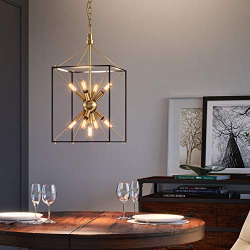 Artika CLY1-C2 Clyde Chandelier, Black and Antique Gold