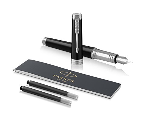(PARKER Premier Fountain Pen, Deep Black Lacquer with Chrome Trim, Fine Nib with Black Ink Refill)