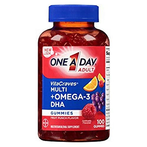 One-A-Day Vitacraves Multi + Omega-3 DHA Fruit Punch Gummies, 100 ea (Pack of 9)