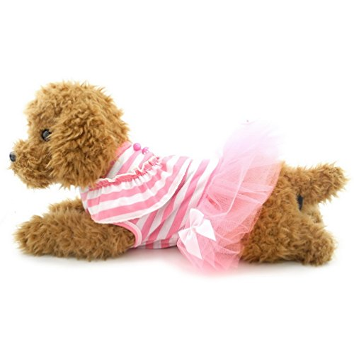 SELMAI T-shirt Dress for Small Dogs Striped Mesh Tutu Bow Trim Summer Chihuahua Puppy Cat Doggie Sundress Clothes Outfits Apparel Pink XS