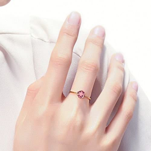 4//6 Claws Red Ruby Rose Gold Filled Band Womens Wedding Solitaire Ring Size 4-10