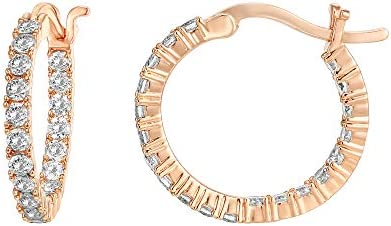 PAVOI 14K Gold Plated 925 Sterling Silver Post Cubic Zirconia Hoop Earrings