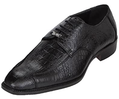 Bolano Mens Black Dress Shoe Exotic Croc Print Oxford: Style 5412 Black-000 8 D (M) US