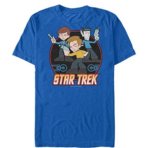 (Star Trek Men's Cool Cartoon Trio Royal Blue T-Shirt)