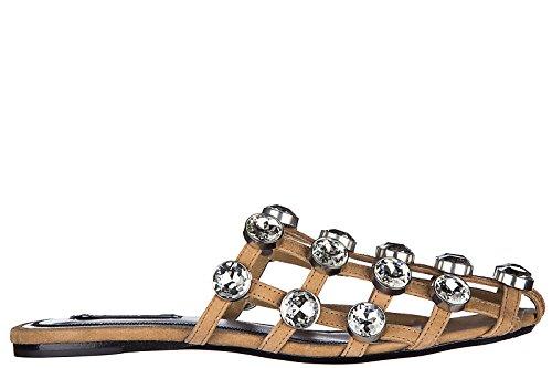 Alexander Wang mujer zapatillas sandalias en piel nuevo jeweled amelia beige Beige