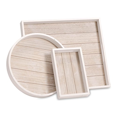 WHW Whole House Worlds Cape Cod Shiplap Trays, Rustic White with Natural Inset, Sustainable Wood, Set of 3, Variety of Sizes (Wooden Circular Tray Serving)