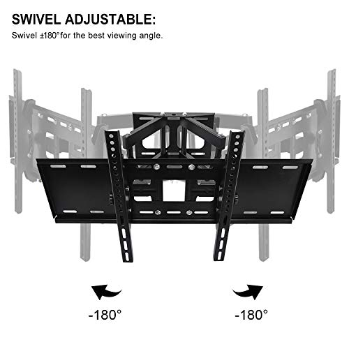 Tilt Swivel Articulating TV Bracket for LCD OLED QLED Plasma Monitor 1080p HD 4K 3D Vesa 600x400mm up lbs with 1.5m Cable