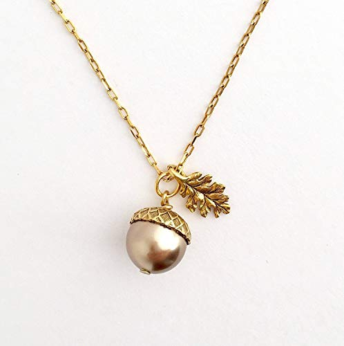 Brown Simulated Pearl Brass Acorn Pendant Necklace With Etched Leaf Charm - 20 Inch Chain