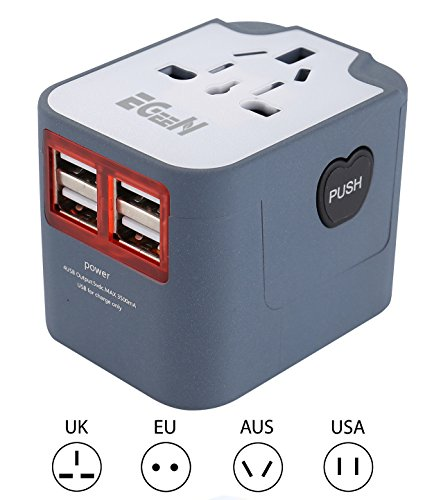 New Zealand Charger (Travel Adapter, Egeen Worldwide Universal 4 USB(3.5A) Charging Ports,Travel Converter Plug with AC Power Outlet Electric Wall Charger for Europe USA UK Australia (Gray)-Built-in Fuse)