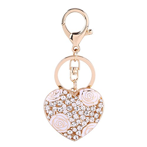 - 1pc Key Ring Romantic Love Heart Rose Flower Crystal Keychain Keyring Accessory for Car Decoration Bag Pendant(White)
