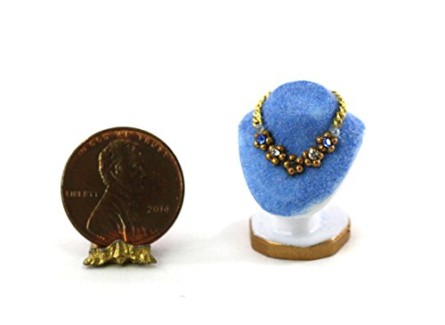 Dollhouse Miniature 1:12 Blue Jewelry Bust w/Gemstone & Pearl Medallion Necklace by Sylvia Leiner ()