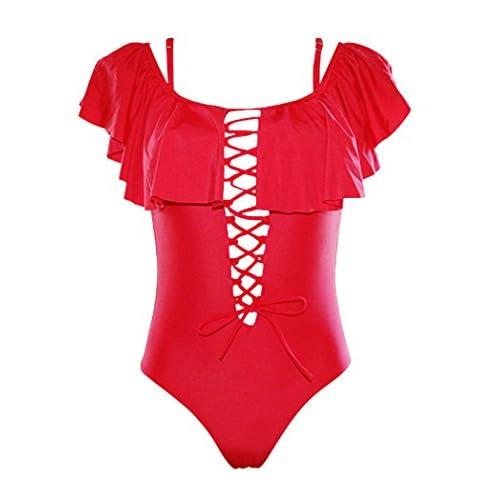 produits de commodité design exquis Garantie de satisfaction à 100% Maillot de Bain Femme 1 Piece Maillot de Bain Bandeau Push ...