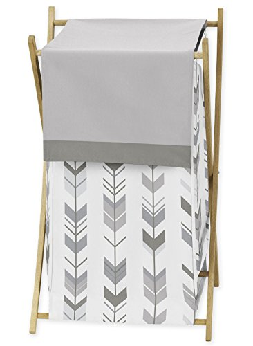 Sweet JoJo Designs Grey and White Baby Kid Clothes Laundry Hamper for Woodland Arrow Collection by by Sweet Jojo Designs