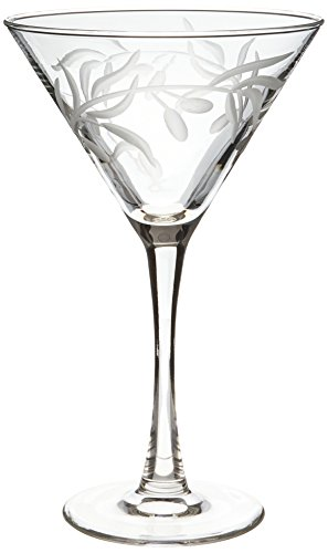 Rolf Glass Etched Olive Branch Martini Glass (Set of 4), 10 oz, Clear