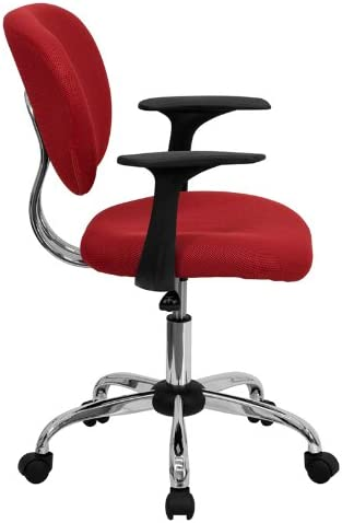 Flash Furniture Mid-Back Red Mesh Padded Swivel Task Office Chair with Chrome Base and Arms