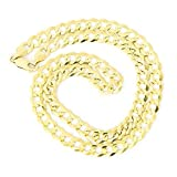 Men's Solid 14k Yellow Gold Comfort Cuban Curb Heavy 7mm Chain Necklace, 24''
