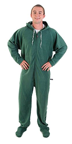Forever Lazy Footed Adult Onesie - Robin Hoodie Green - S