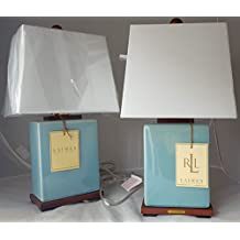 Pair of Two (2) Ralph Lauren Blue Porcelain Crackle Traditional Ceramic Table Lamps