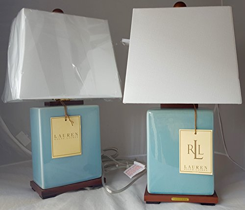 Pair of Two (2) Ralph Lauren Blue Porcelain Crackle Traditional Ceramic Table Lamps ()