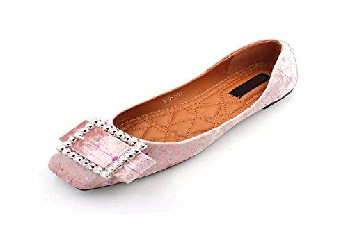 Scarpe da HBDLH Diamond La Scarpe Fibbie Solo Pink Da Bottomed Traspiranti Primavera donna Scivolare Scarpe Donna Sogliola Scarpe zq5rz