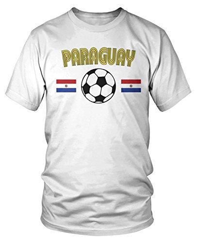 (Amdesco Men's Paraguay Soccer, Paraguayan Football Pride T-Shirt, White Large)