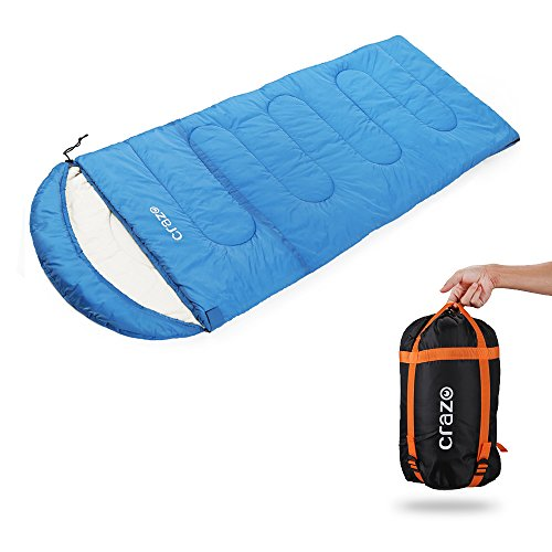 Crazo 40-60F Waterproof Silk Cotton Filling Hooded Envelope Sleeping Bag, Blue, 86.6 x 31.5-Inch