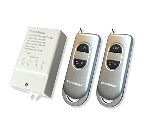 TOVEENEN Wireless Switch 330ft Long Range 85~265VAC Large Load Remote Control for Lights Pumps Water Heaters (2 Remote)