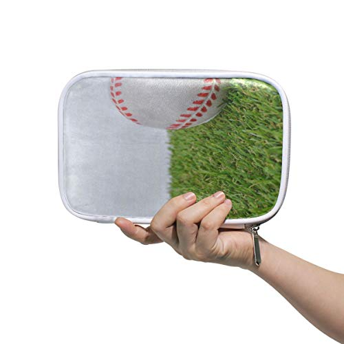 - Baseball Green Grass Large Pencil Case Multifunction Leather Cosmetic Brushes Bag Holder Zip Pouch
