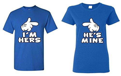 Shop4Ever Cartoon Hands I'm Hers - He's Mine Couples Matching T-Shirts - Men Medium R. Blue//Women 2XL R. -