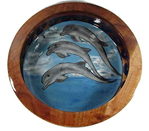 Hand Painted Mexican Folk Art - HAND CARVED HAND PAINTED WOOD SERVING BOWL FRUIT SALAD CHIPS DISH BEAUTIFUL MEXICAN FOLK ART Large (Sea Blue Dolphins)