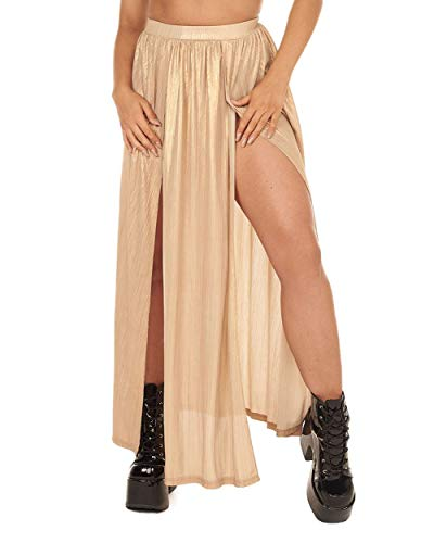 (iHeartRaves Gold Glimmer of Light Maxi Skirt (Large))