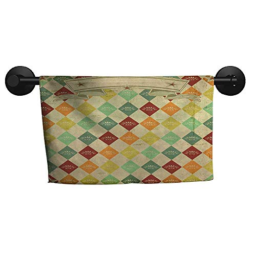 alisoso Vintage,Decorative Towels Colorful Rhombuses with Grunge Banner Design Stars and Victorian Swirls and Curls Bathroom Hand Towels W 10