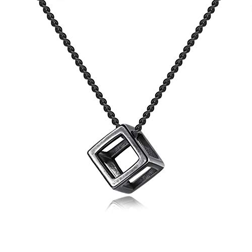 INRENG Men's Stainless Steel Simple Square Hollow Cube Charm Pendant Minimalist Couple Necklace ()