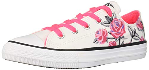 Converse Girls Kids' Chuck Taylor All Star Graphic Low Top Sneaker, White/Racer Pink/Black 12 M US Little ()