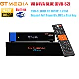GTMEDIA V8 NOVA Blue Full HD 1080P DVB-S2 FTA Digital Satellite Receiver Support H.265, PowerVu, Biss Key, Built-in WiFi