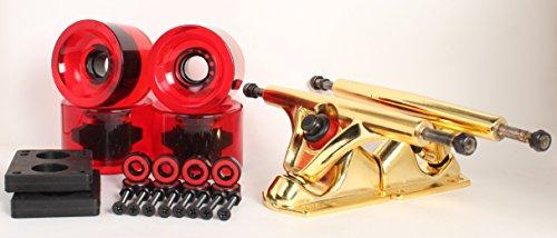 70mm 78a Clear Red Longboard Wheels and Gold Reverse Kingpin Truck Combo - Skateboard Wheels Gold