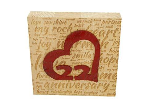 22nd Wedding Anniversary Word Art Beech Block with 22 Year Acrylic Heart - 22nd Anniversary Ornament ()