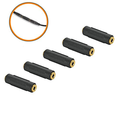 3.5mm F/F Stereo Coupler - 5 Pack Gold Plated 3.5mm Stereo jack Female to Female Adapter (Female Gold Plated Audio)