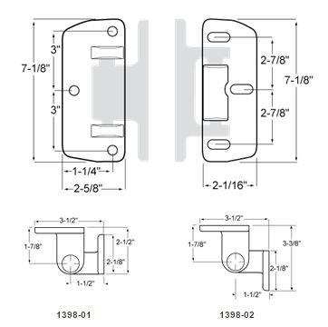Kason 1398 Series Heavy Duty Edgemount Walk-In Hinge (Offset: 3-1/2'')